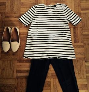 Jeans H&M, marinière Gap, loafers H&M