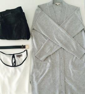 Jeans et ceinture H&M, top Zalando, jaquette Gap