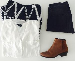 Jeans et blouse H&M, jaquette Ichi, bottines Kiomi