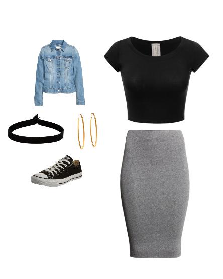 converes et pencil grey skirt