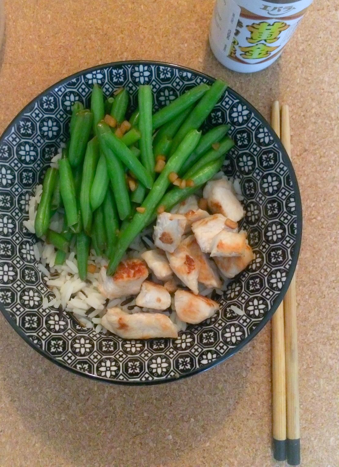 bol poulet haricot sauce japonaise