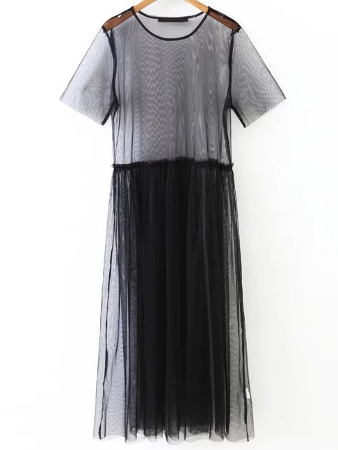 mesh short sleeves dress shein.com