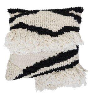 coussin bohème berbere à frange noir et blanc