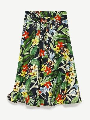 jupe à fleurs tropicales multicolore zara
