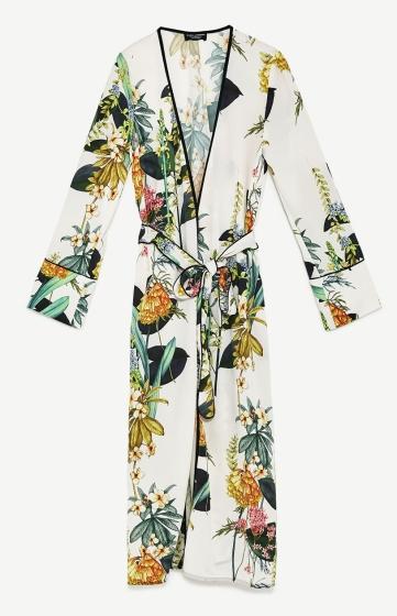 kimono long à fleur blanc zara